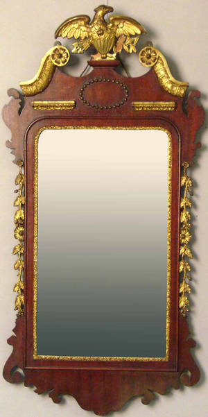 Federal style mahogany and giltwood mirror
