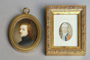 Watercolor on ivory miniature portrait after Sir Anthony Van Dyck