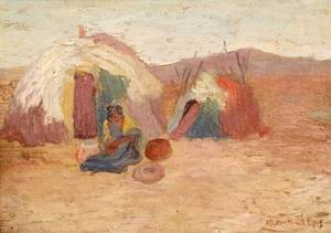 Rozel Oertle Butler American 20th Century Lot of Three Works Including On the Reservation A Pueblo and Tepee