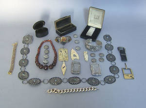 Group of silver jewelry and dresser articles to include a concha belt