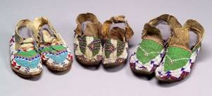 Three Pairs of Central Plains Beaded Hide Moccasins