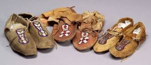 Three Pairs of Northern Plains Beaded Hide Moccasins
