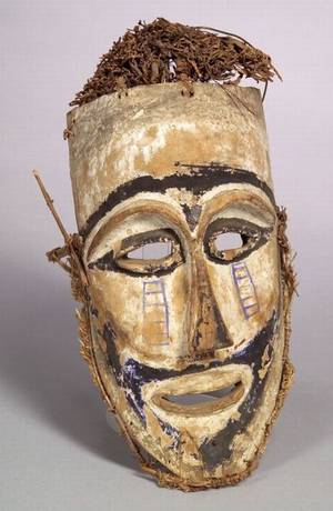 Melanesian Polychrome Carved Wood Mask