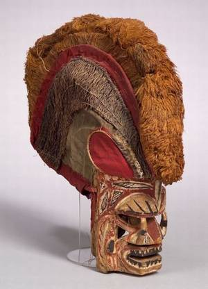 Melanesian Polychrome Carved Wood and Fiber Mask