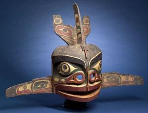 Northwest Coast Polychrome Carved Wood Mask