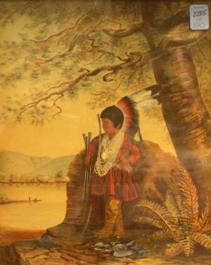 Framed Mixed Media Work of a Native American Boy Hunting