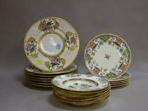 Set of Five Mintons Enameled Chinesestyle Decorated Porcelain Plates a Set of Six Soups and a Set of Seven Enameled Porcelain Dinner