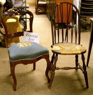 Pair of Early Victorian Mahogany and Mahogany Veneer Side Chairs with Needlepoint Seats and a Pair of Windsorstyle Stained Maple Cha