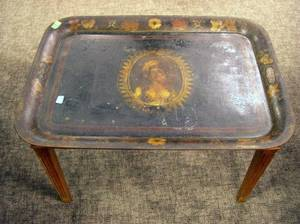 19th Century Portrait Decorated Tole Tray on Stand