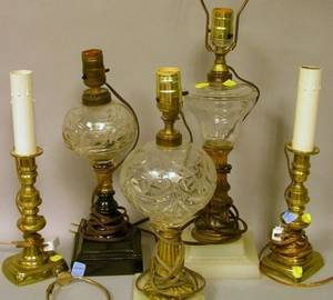 Three Blown Molded Glass Fluid Lamps and a Pair of Federalstyle Brass Candlestick Lamps