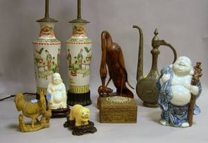 Nine Assorted Chinese and Asian Decorative Items