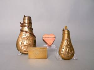 Two brass powder flasks