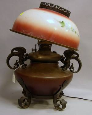 Bradley  Hubbard Victorian Patinated and Painted Metal Kerosene Table Lamp with Painted Floral Decorated Glass Shade