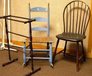 American Turned Ash Quilt Stand and Two Painted Chairs