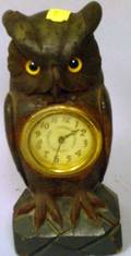 Carved Pine Owl Figural Clock with Glass Eyes