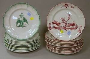 Two Sets of Twelve Continental Faience Dinner Plates