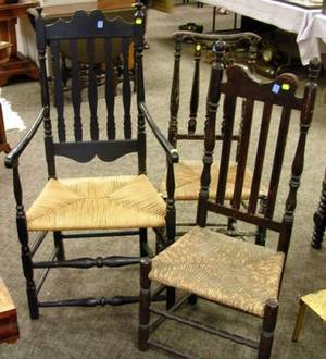 Black Banisterback Armchair and Side Chair and a Brown Painted Banisterback Side Chair
