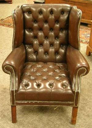 Brown Tufted Leather Upholstered Wing Chair