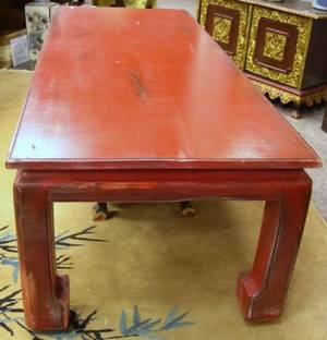 Large Chinese Red Painted Low Table together with two Asian side chairs