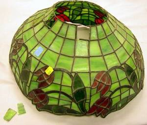 Currier  Ives Transfer Decorated SixPanel Bent Glass Lamp Shade and a Floral Leaded Glass Lamp Shade
