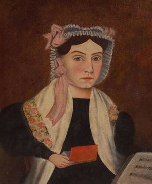American School 19th Century Portrait of Woman Holding a Red Book