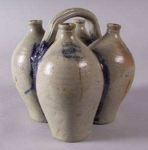 Cobalt Decorated Conjoined Stoneware Jugs
