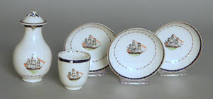 Five pieces of Chinese export porcelain with American ship decoration
