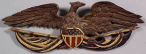 Carved and Painted Eagle and Union Shield Plaque