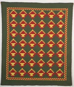Pieced Cotton Basket Pattern Quilt
