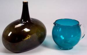 Two Colored Glass Items