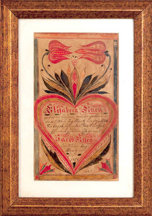 Southeastern Pennsylvania ink and watercolor fraktur bookplate dated 1808