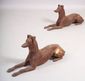 Pair of Cast Iron Recumbent Whippet Garden Figures