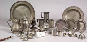 Fortythree Assorted Pewter Table Items
