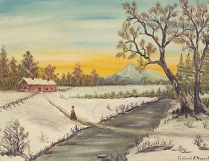 American School 19th Century Winter Landscape with Cottage and Figure