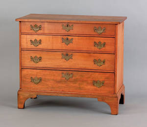 New England Chippendale maple chest of drawers late 18th c