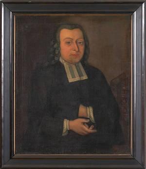 Oil on canvas folk portrait late 18th c