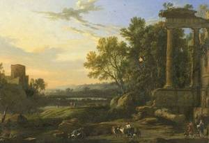 Manner of Pierre Patel French c 16051676 Figures and Livestock in a Pastoral Landscape with Ruins