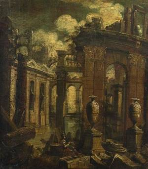 Venetian School 18th Century Figure Seated Among Ruins