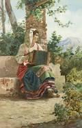 Italian School 19th Century Girl with Accordion
