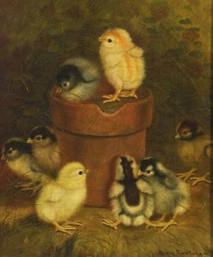 Ben Austrian American 18701921 Genre Scene with Chicks