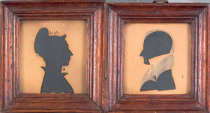 Pair of hollowcut silhouettes early mid 19th c