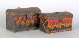 Two toleware dome lid boxes 19th c