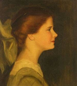 School of Edmund Charles tarbell American 18621938 Portrait of a Young Girl in Profile