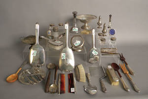 Group of sterling silver mounted tableware