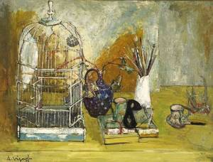 Andre Vignoles French b 1920 Birdcage and Still Life