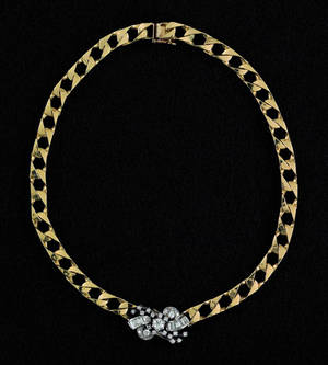 14K yellow and white gold diamond necklace