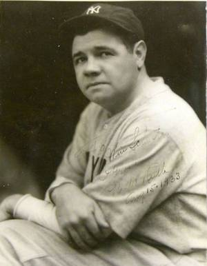 George Herman Babe Ruth Signed Black and White Photograph