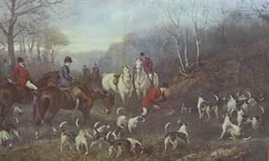Quartersawn Oak Framed Print Depicting a Hunt Scene