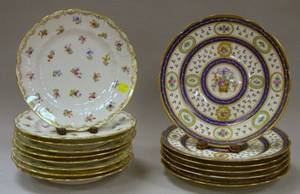 Set of Six Sevres Handpainted Gilt Floral and Floral Basket Decorated Porcelain Dinner Plates and a Set of Nine Dresden Handpainted Flo