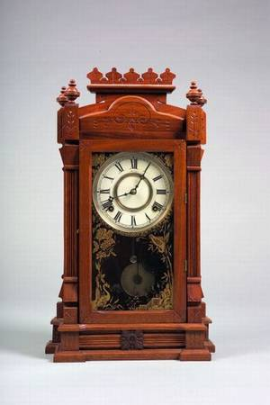 W L Gilbert Clock Co Walnut Shelf Clock